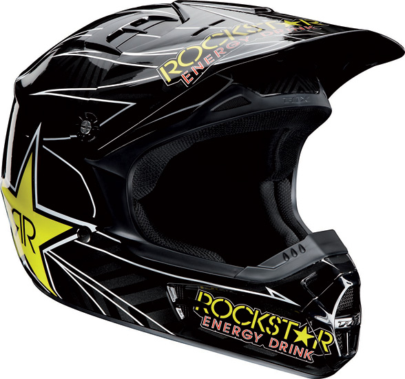 Casque moto cross Fox V1 Rockstar Energy Drink