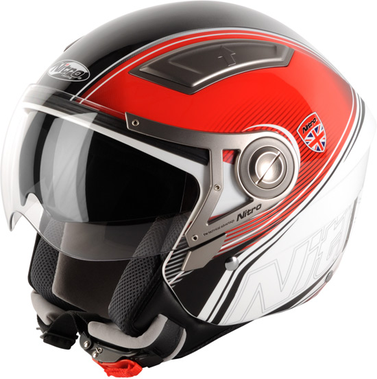 Casque moto et scooter jet Nitro Insignia, déco Racing et grand confort
