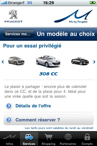 Application de location scooter Peugeot Mu pour smartphone iPhone
