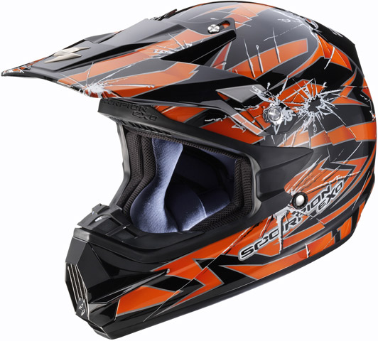 Casque cross Scorpion Exo VX-24 Air Impact en orange et noir