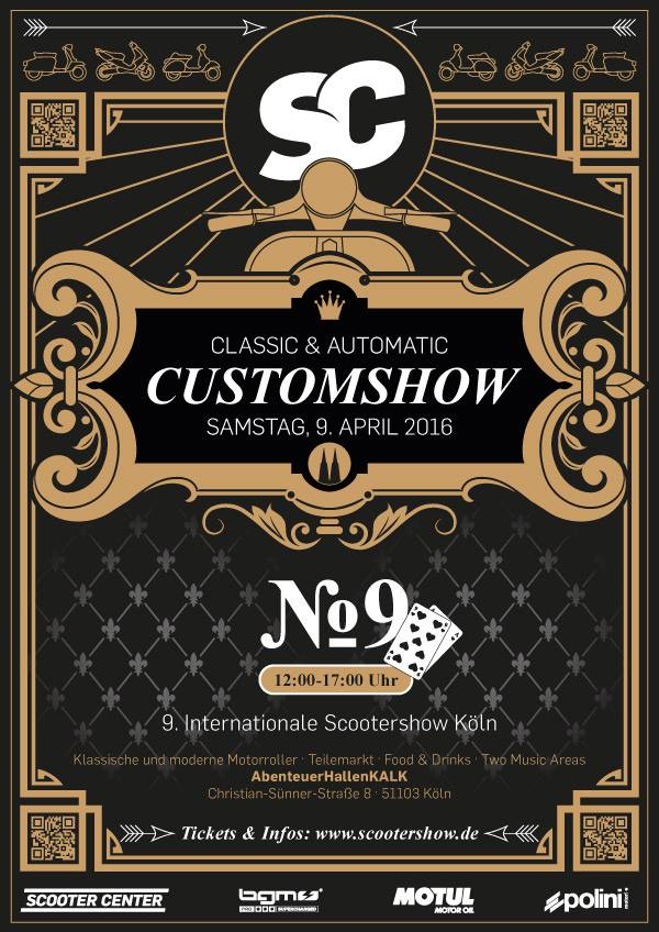 Affiche du ScooterShow (contraction de Scooter Customshow) de Cologne 2016,